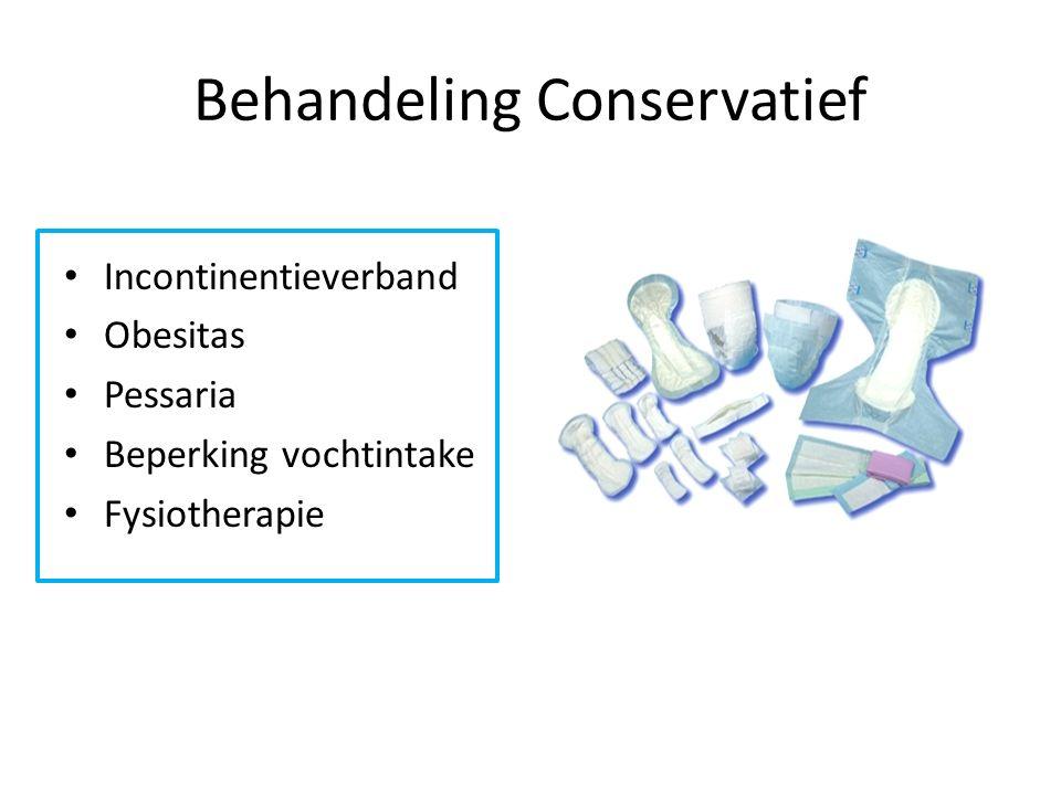 Behandeling Conservatief Incontinentieverband Obesitas Pessaria Beperking vochtintake Fysiotherapie