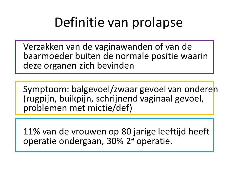 Definitie van prolapse Verzakken van de vaginawanden of van de baarmoeder buiten de normale positie waarin deze organen zich bevinden Symptoom: balgev
