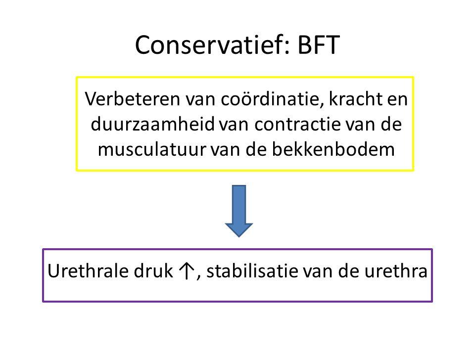 Conservatief: BFT Verbeteren van coördinatie, kracht en duurzaamheid van contractie van de musculatuur van de bekkenbodem Urethrale druk ↑, stabilisatie van de urethra