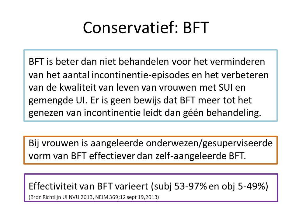 Conservatief: BFT BFT is beter dan niet behandelen voor het verminderen van het aantal incontinentie-episodes en het verbeteren van de kwaliteit van leven van vrouwen met SUI en gemengde UI.