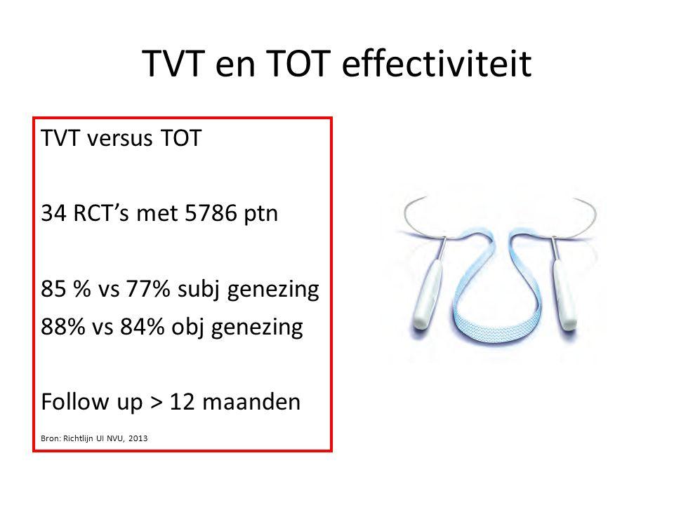 TVT en TOT effectiviteit TVT versus TOT 34 RCT's met 5786 ptn 85 % vs 77% subj genezing 88% vs 84% obj genezing Follow up > 12 maanden Bron: Richtlijn