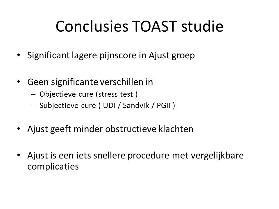 Conclusies TOAST studie Significant lagere pijnscore in Ajust groep Geen significante verschillen in – Objectieve cure (stress test ) – Subjectieve cu