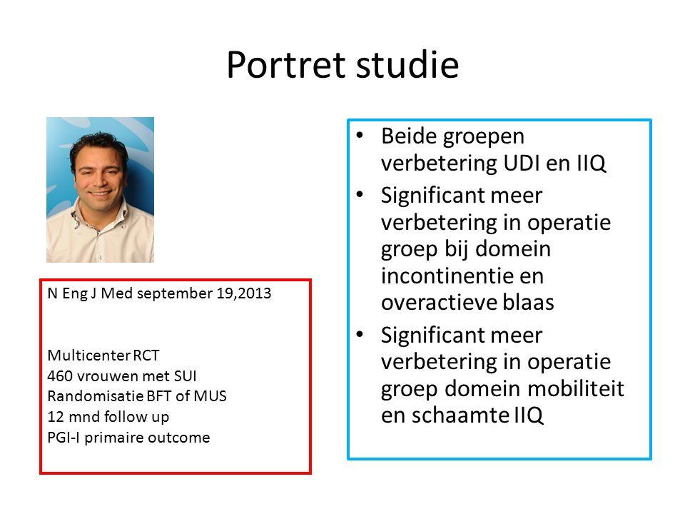 Portret studie Beide groepen verbetering UDI en IIQ Significant meer verbetering in operatie groep bij domein incontinentie en overactieve blaas Signi
