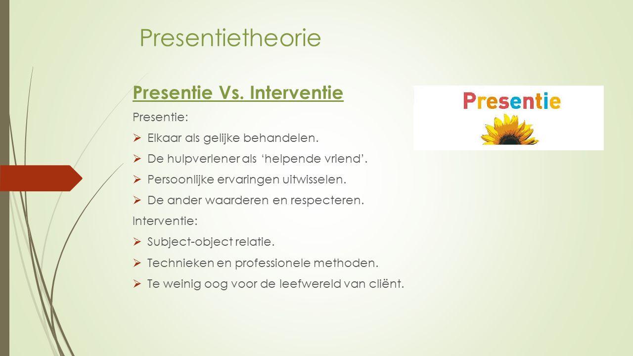 Presentietheorie Presentie Vs. Interventie Presentie:  Elkaar als gelijke behandelen.