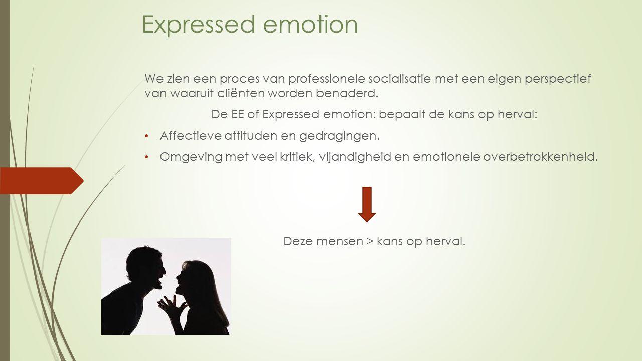 Expressed emotion We zien een proces van professionele socialisatie met een eigen perspectief van waaruit cliënten worden benaderd.