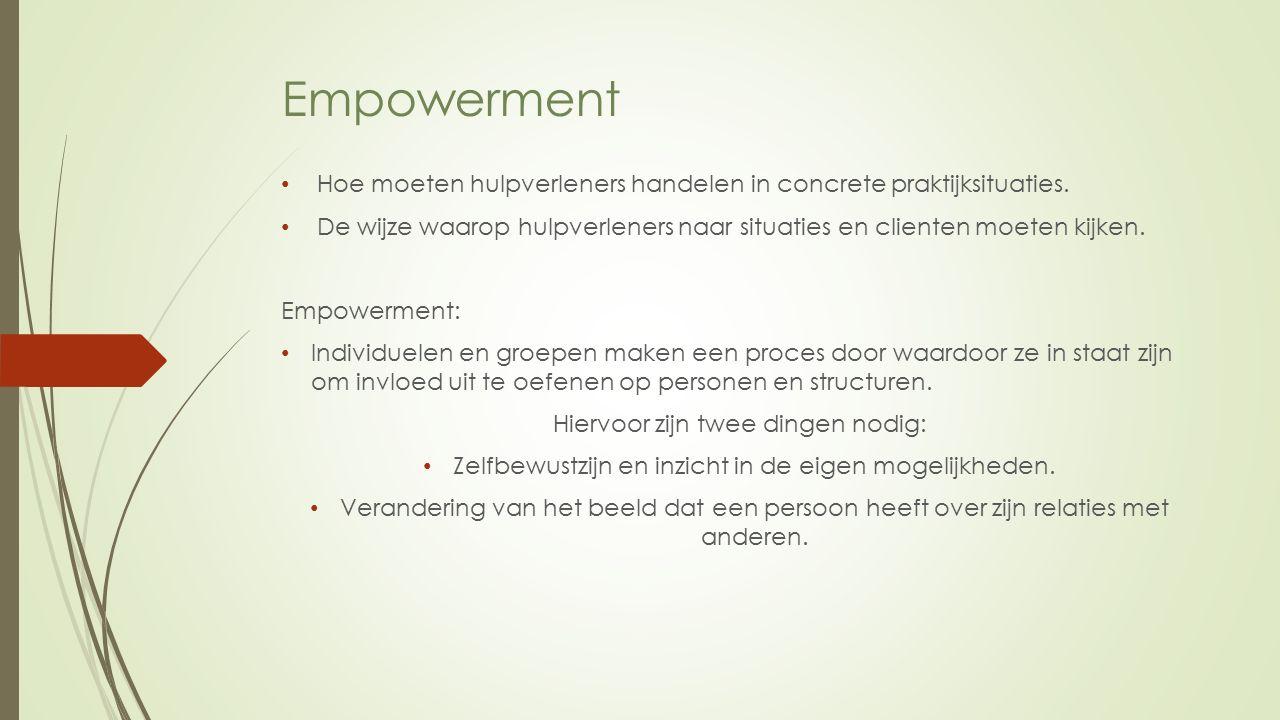 Empowerment Hoe moeten hulpverleners handelen in concrete praktijksituaties.