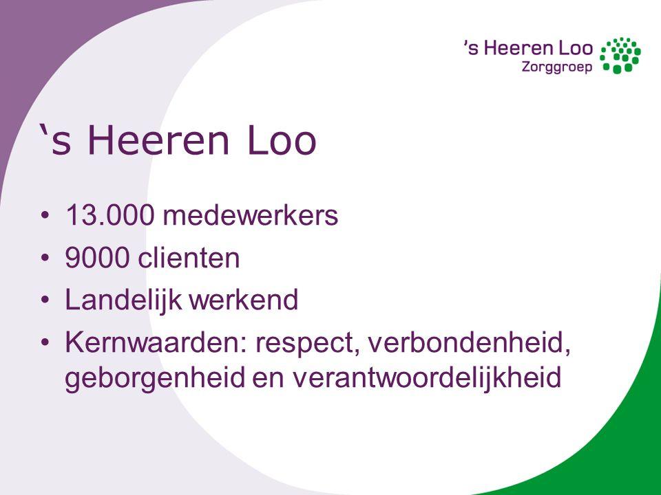 's Heeren Loo 13.000 medewerkers 9000 clienten Landelijk werkend Kernwaarden: respect, verbondenheid, geborgenheid en verantwoordelijkheid