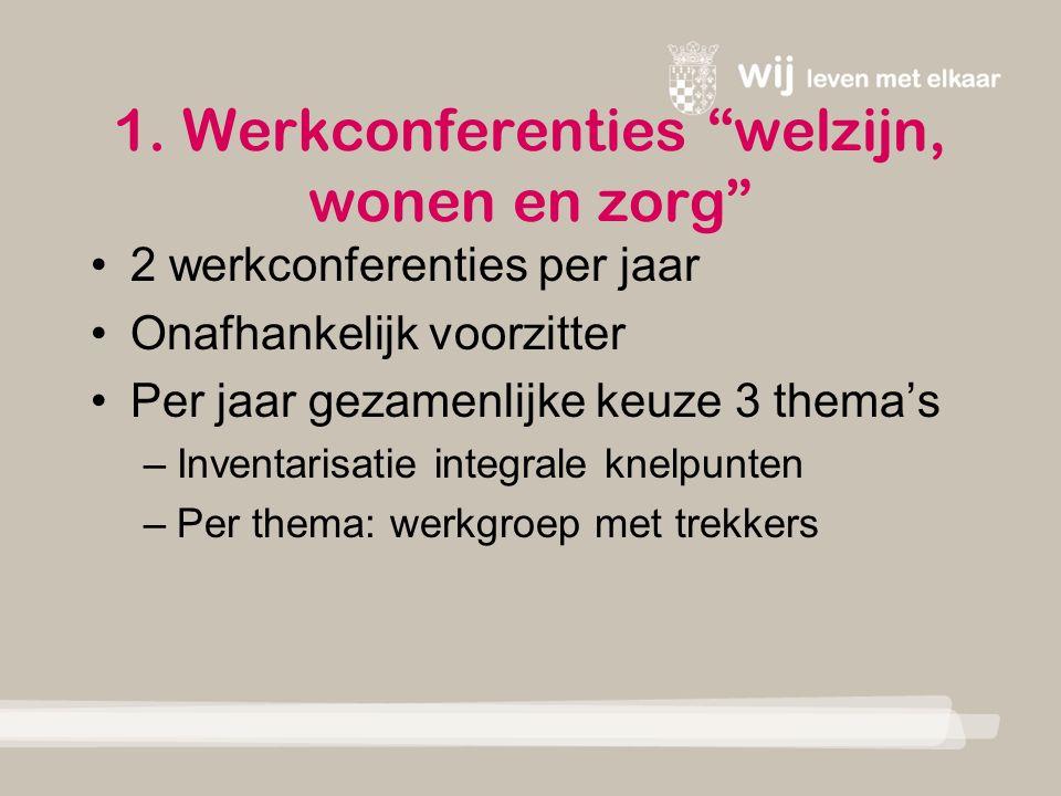 """1. Werkconferenties """"welzijn, wonen en zorg"""" 2 werkconferenties per jaar Onafhankelijk voorzitter Per jaar gezamenlijke keuze 3 thema's –Inventarisati"""