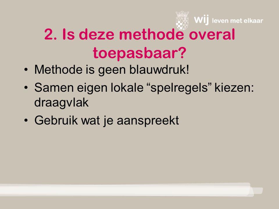 2. Is deze methode overal toepasbaar. Methode is geen blauwdruk.