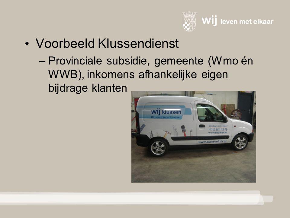 Voorbeeld Klussendienst – Provinciale subsidie, gemeente (Wmo én WWB), inkomens afhankelijke eigen bijdrage klanten