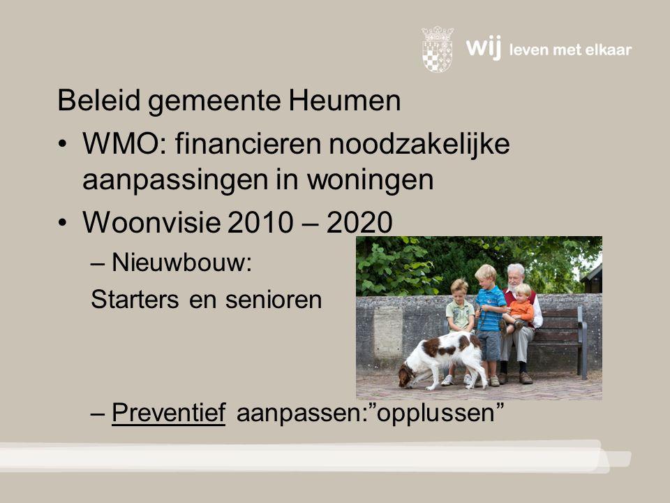 Beleid gemeente Heumen WMO: financieren noodzakelijke aanpassingen in woningen Woonvisie 2010 – 2020 – Nieuwbouw: Starters en senioren – Preventief aanpassen: opplussen