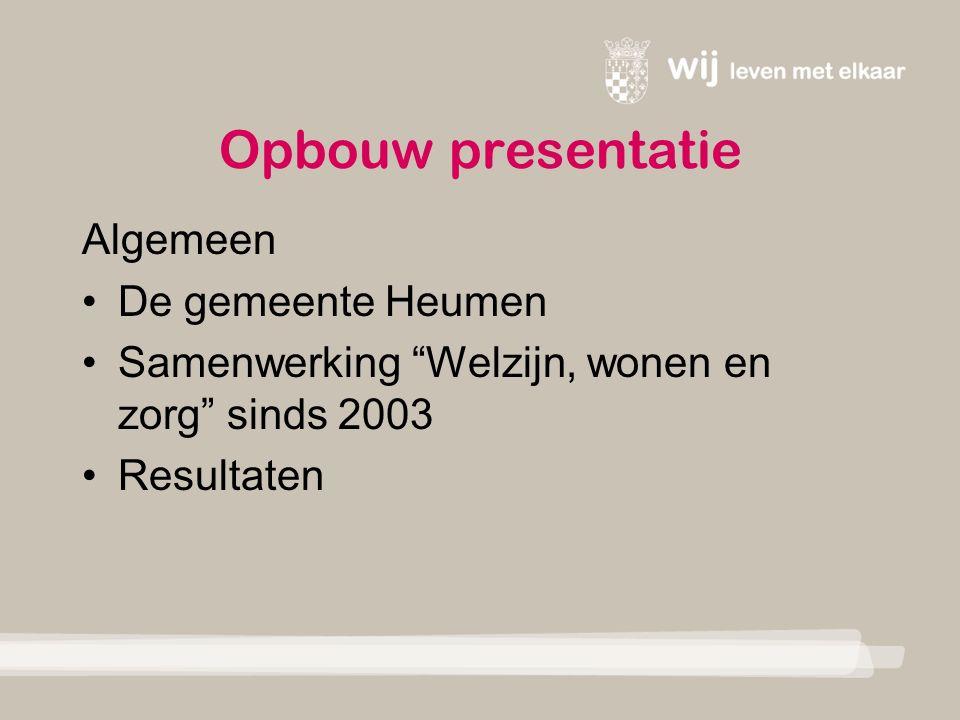 Opbouw presentatie Algemeen De gemeente Heumen Samenwerking Welzijn, wonen en zorg sinds 2003 Resultaten