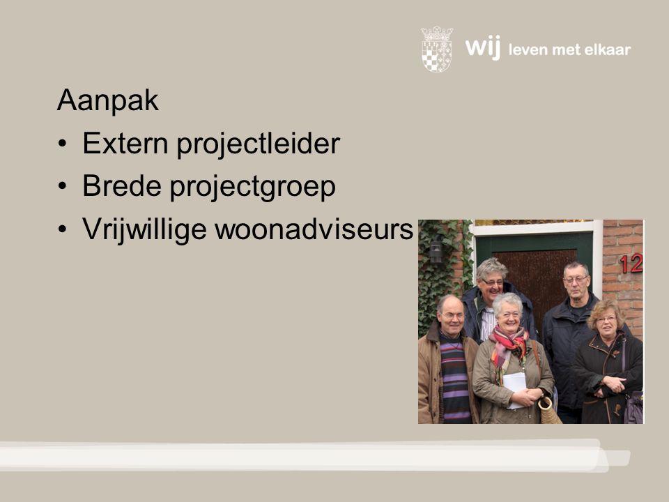 Aanpak Extern projectleider Brede projectgroep Vrijwillige woonadviseurs