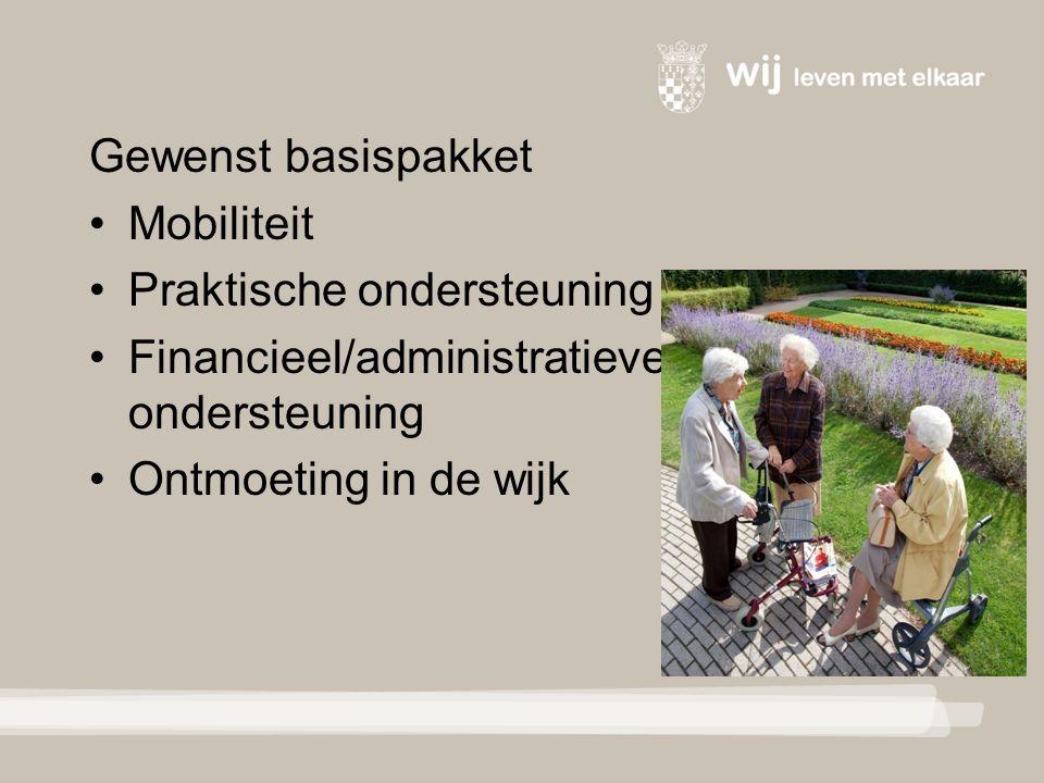 Gewenst basispakket Mobiliteit Praktische ondersteuning Financieel/administratieve ondersteuning Ontmoeting in de wijk