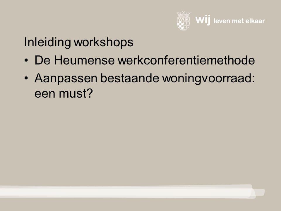 Inleiding workshops De Heumense werkconferentiemethode Aanpassen bestaande woningvoorraad: een must?