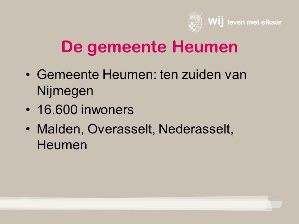De gemeente Heumen Gemeente Heumen: ten zuiden van Nijmegen 16.600 inwoners Malden, Overasselt, Nederasselt, Heumen