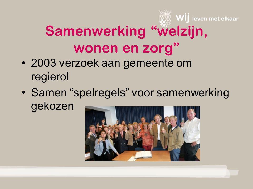 Samenwerking welzijn, wonen en zorg 2003 verzoek aan gemeente om regierol Samen spelregels voor samenwerking gekozen