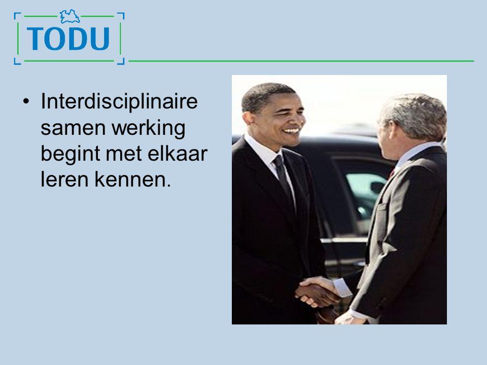 Interdisciplinaire samen werking begint met elkaar leren kennen.