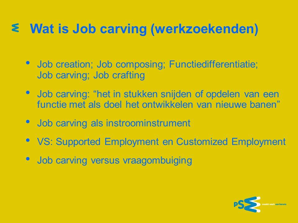 Job carving (werkenden) Job carving: onderscheiden van hoofd- en bijzaken Job carving: voor- en nadelen voor zittende medewerkers Job carving: 2 voorbeelden (zorg en logistiek) Roep om Sociale Innovatie.