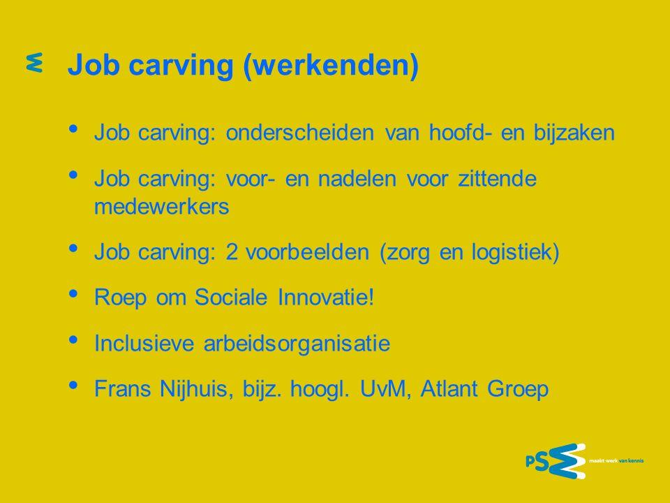 Job carving (werkenden) Job carving: onderscheiden van hoofd- en bijzaken Job carving: voor- en nadelen voor zittende medewerkers Job carving: 2 voorb