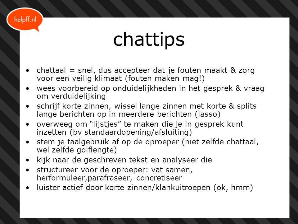 chattips chattaal = snel, dus accepteer dat je fouten maakt & zorg voor een veilig klimaat (fouten maken mag!) wees voorbereid op onduidelijkheden in het gesprek & vraag om verduidelijking schrijf korte zinnen, wissel lange zinnen met korte & splits lange berichten op in meerdere berichten (lasso) overweeg om lijstjes te maken die je in gesprek kunt inzetten (bv standaardopening/afsluiting) stem je taalgebruik af op de oproeper (niet zelfde chattaal, wel zelfde golflengte) kijk naar de geschreven tekst en analyseer die structureer voor de oproeper: vat samen, herformuleer,parafraseer, concretiseer luister actief door korte zinnen/klankuitroepen (ok, hmm)
