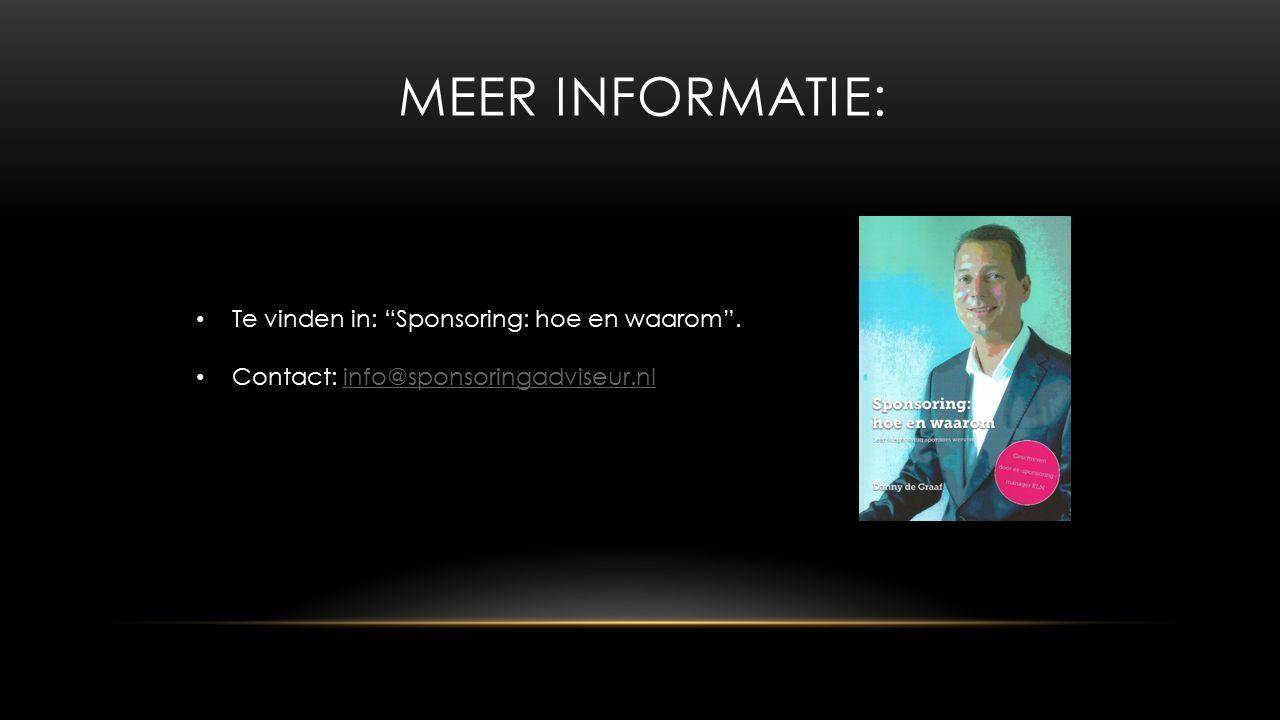 MEER INFORMATIE: Te vinden in: Sponsoring: hoe en waarom .