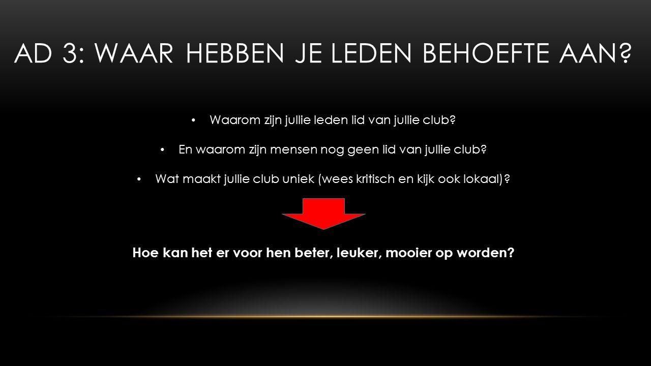 AD 3: WAAR HEBBEN JE LEDEN BEHOEFTE AAN. Waarom zijn jullie leden lid van jullie club.