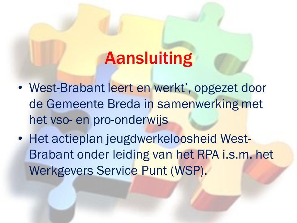 Aansluiting West-Brabant leert en werkt', opgezet door de Gemeente Breda in samenwerking met het vso- en pro-onderwijs Het actieplan jeugdwerkeloosheid West- Brabant onder leiding van het RPA i.s.m.