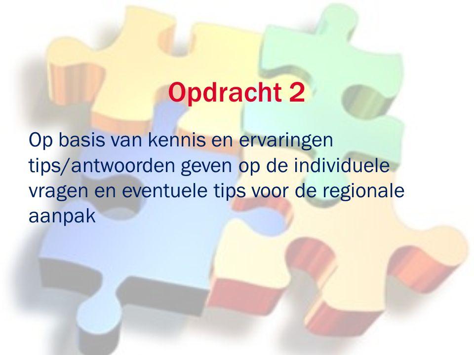 Opdracht 2 Op basis van kennis en ervaringen tips/antwoorden geven op de individuele vragen en eventuele tips voor de regionale aanpak