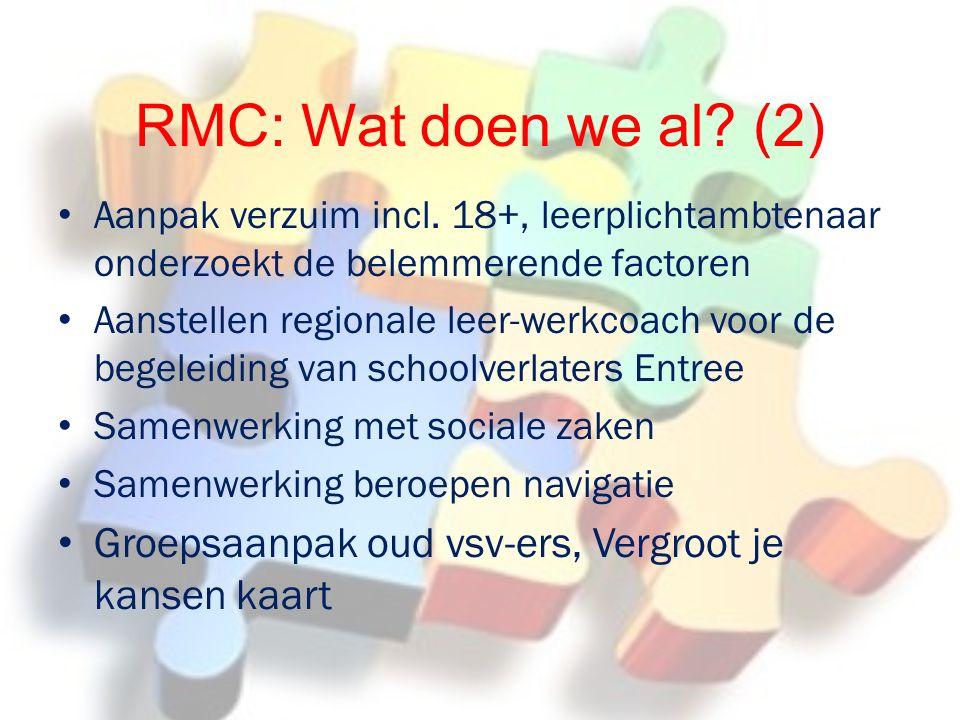 RMC: Wat doen we al.(2) Aanpak verzuim incl.