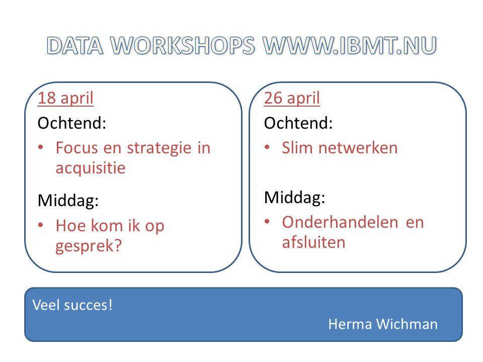 18 april Ochtend: Focus en strategie in acquisitie Middag: Hoe kom ik op gesprek.