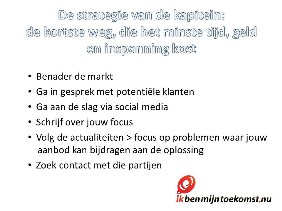 Benader de markt Ga in gesprek met potentiële klanten Ga aan de slag via social media Schrijf over jouw focus Volg de actualiteiten > focus op problemen waar jouw aanbod kan bijdragen aan de oplossing Zoek contact met die partijen