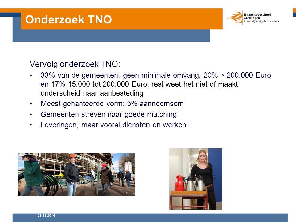 Onderzoek TNO Vervolg onderzoek TNO: 33% van de gemeenten: geen minimale omvang, 20% > 200.000 Euro en 17% 15.000 tot 200.000 Euro, rest weet het niet of maakt onderscheid naar aanbesteding Meest gehanteerde vorm: 5% aanneemsom Gemeenten streven naar goede matching Leveringen, maar vooral diensten en werken 28-11-2014