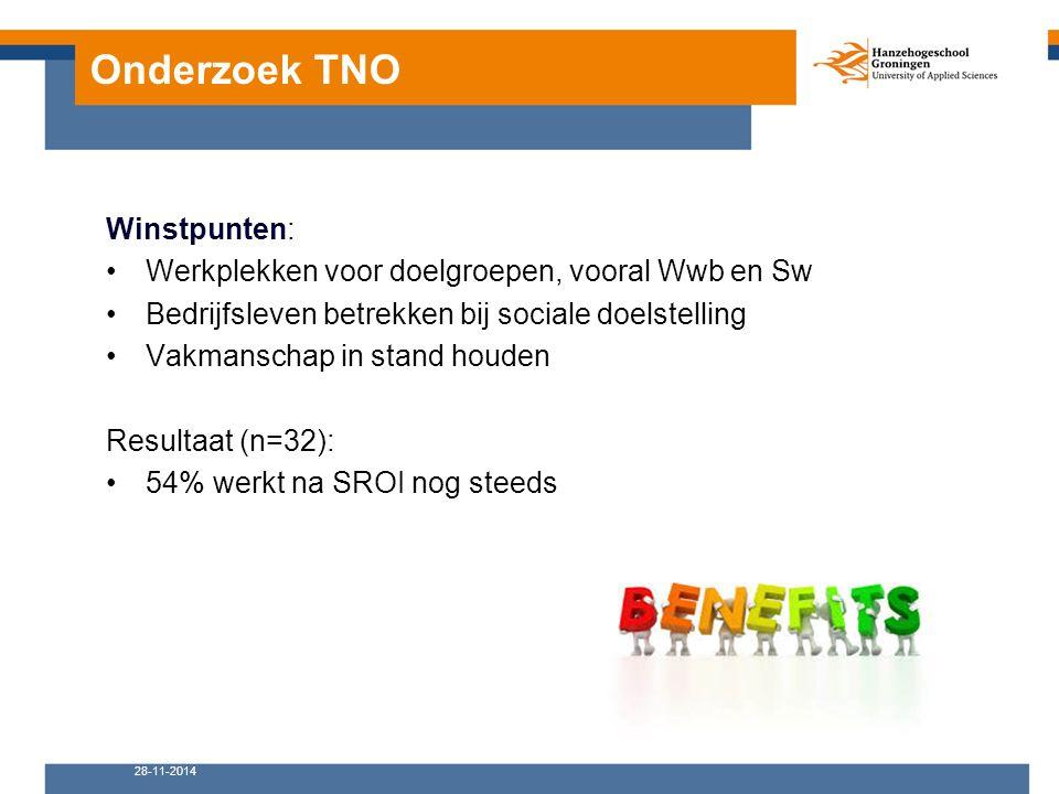 Onderzoek TNO Winstpunten: Werkplekken voor doelgroepen, vooral Wwb en Sw Bedrijfsleven betrekken bij sociale doelstelling Vakmanschap in stand houden Resultaat (n=32): 54% werkt na SROI nog steeds 28-11-2014