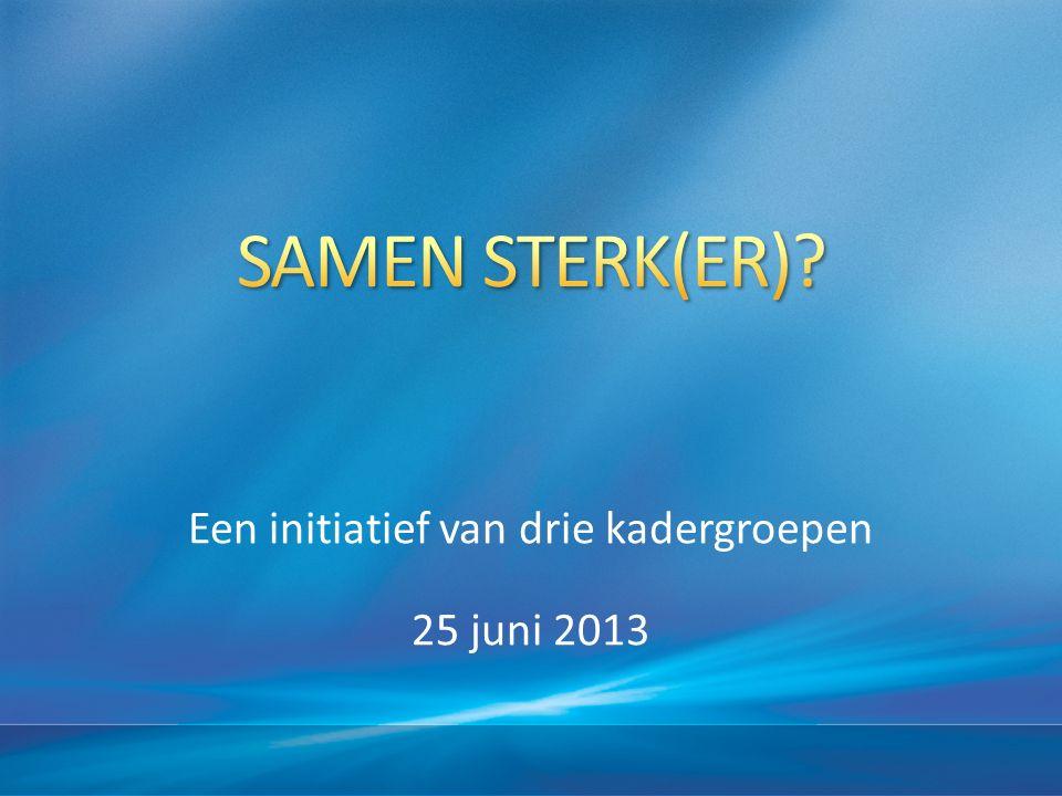 Een initiatief van drie kadergroepen 25 juni 2013