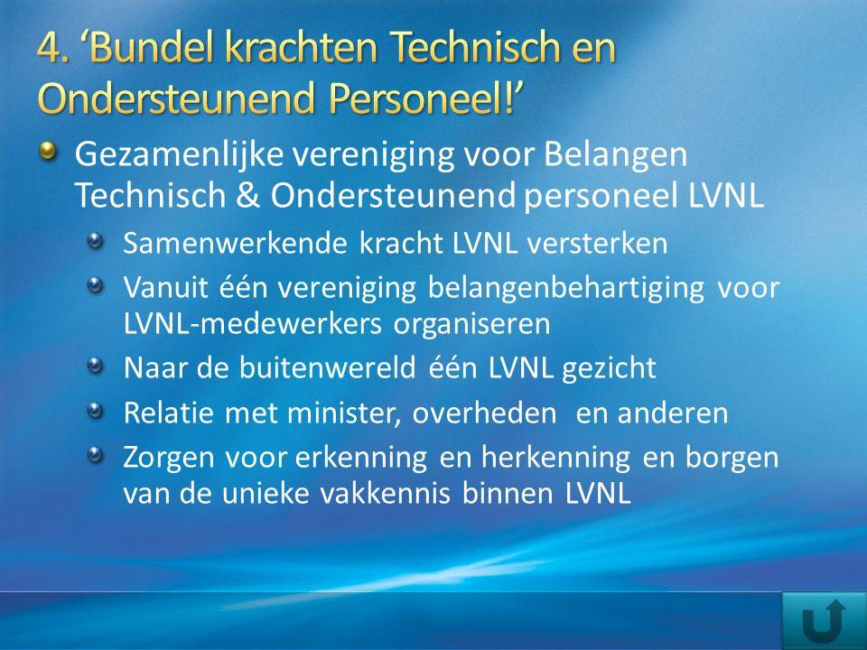 Gezamenlijke vereniging voor Belangen Technisch & Ondersteunend personeel LVNL Samenwerkende kracht LVNL versterken Vanuit één vereniging belangenbeha
