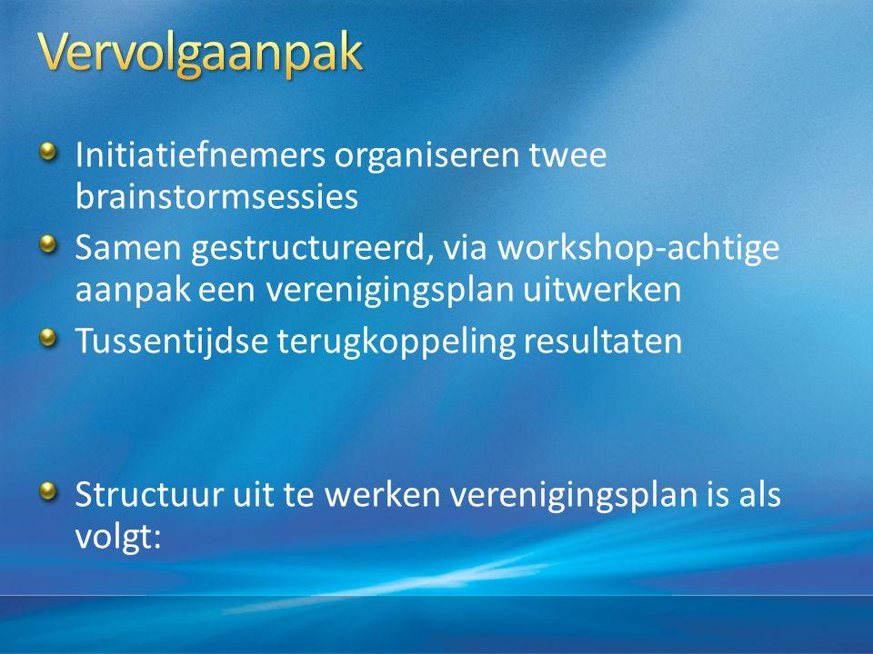 Initiatiefnemers organiseren twee brainstormsessies Samen gestructureerd, via workshop-achtige aanpak een verenigingsplan uitwerken Tussentijdse terugkoppeling resultaten Structuur uit te werken verenigingsplan is als volgt: