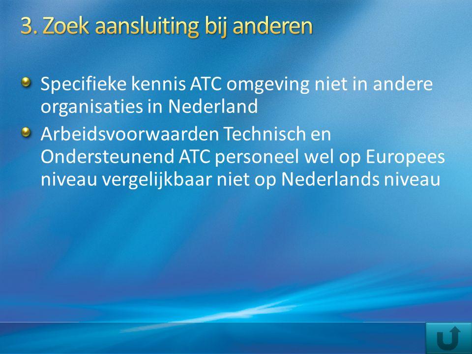Specifieke kennis ATC omgeving niet in andere organisaties in Nederland Arbeidsvoorwaarden Technisch en Ondersteunend ATC personeel wel op Europees ni