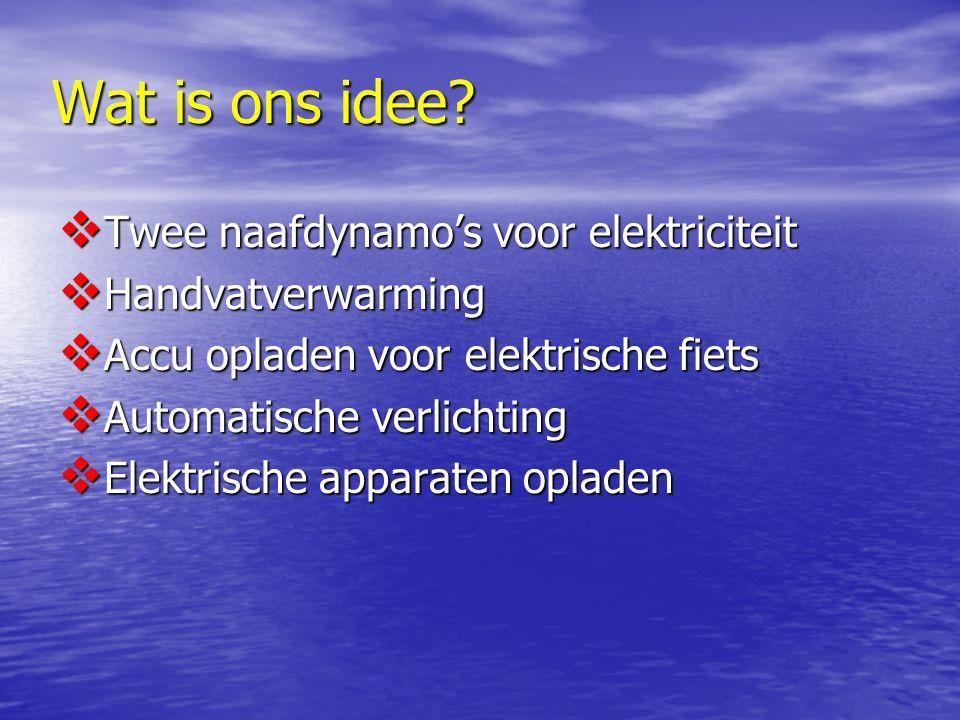 Wat is ons idee?  Twee naafdynamo's voor elektriciteit  Handvatverwarming  Accu opladen voor elektrische fiets  Automatische verlichting  Elektri