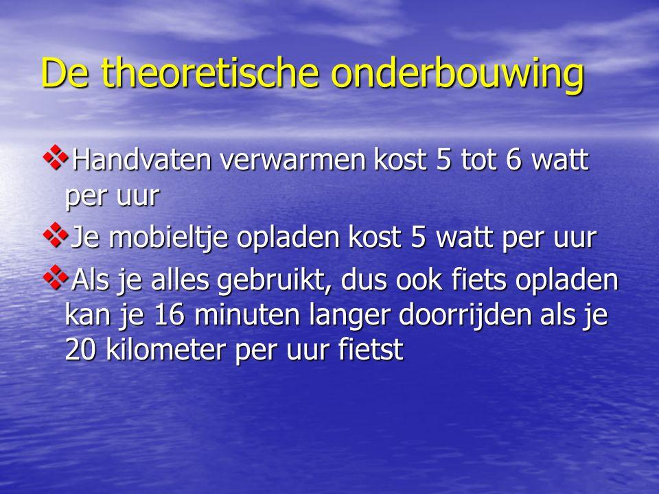 De theoretische onderbouwing  Handvaten verwarmen kost 5 tot 6 watt per uur  Je mobieltje opladen kost 5 watt per uur  Als je alles gebruikt, dus ook fiets opladen kan je 16 minuten langer doorrijden als je 20 kilometer per uur fietst