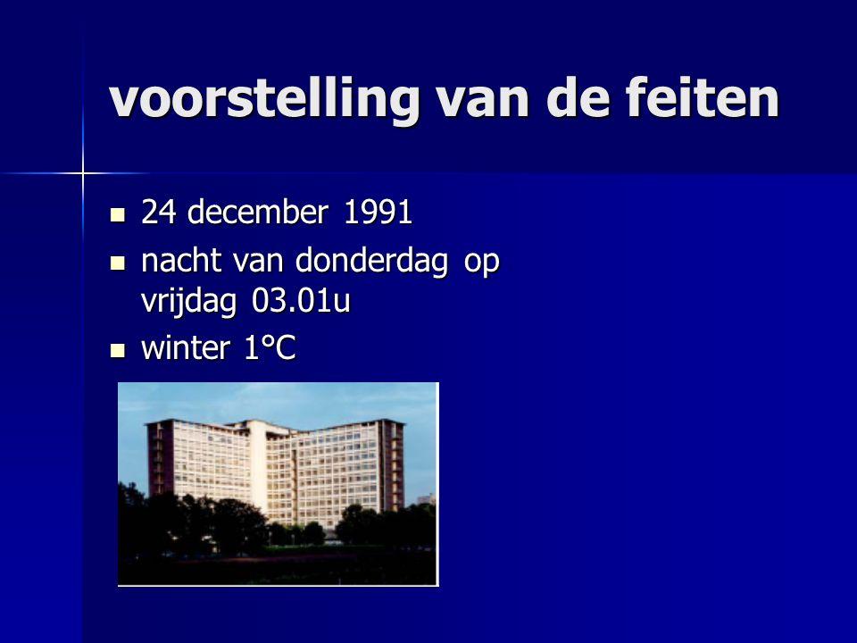 voorstelling van de feiten 24 december 1991 24 december 1991 nacht van donderdag op vrijdag 03.01u nacht van donderdag op vrijdag 03.01u winter 1°C winter 1°C