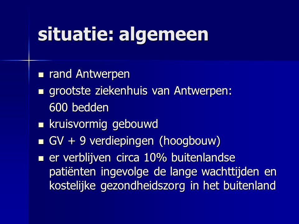 situatie: algemeen rand Antwerpen rand Antwerpen grootste ziekenhuis van Antwerpen: grootste ziekenhuis van Antwerpen: 600 bedden kruisvormig gebouwd