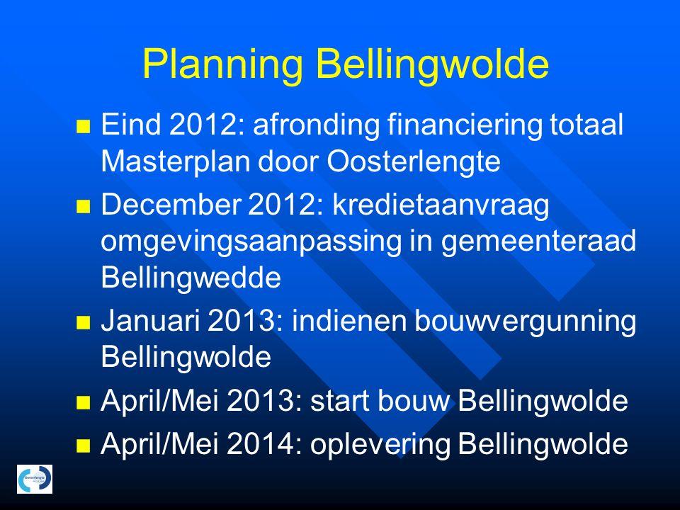 Planning Bellingwolde Eind 2012: afronding financiering totaal Masterplan door Oosterlengte December 2012: kredietaanvraag omgevingsaanpassing in geme