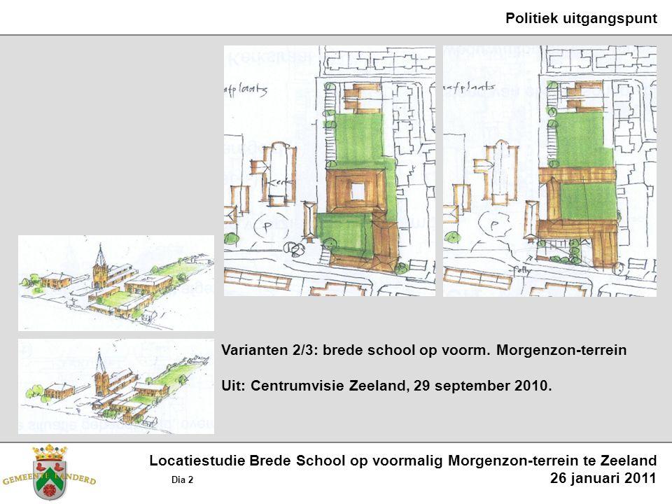 Politiek uitgangspunt Varianten 2/3: brede school op voorm. Morgenzon-terrein Uit: Centrumvisie Zeeland, 29 september 2010. Locatiestudie Brede School