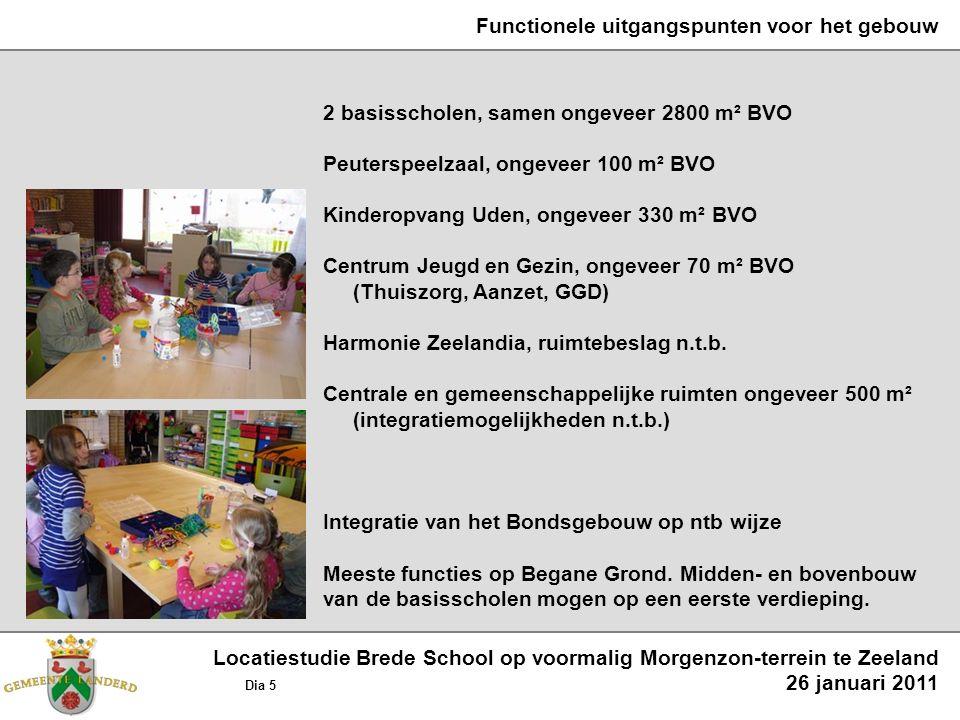 Functionele uitgangspunten voor het gebouw 2 basisscholen, samen ongeveer 2800 m² BVO Peuterspeelzaal, ongeveer 100 m² BVO Kinderopvang Uden, ongeveer