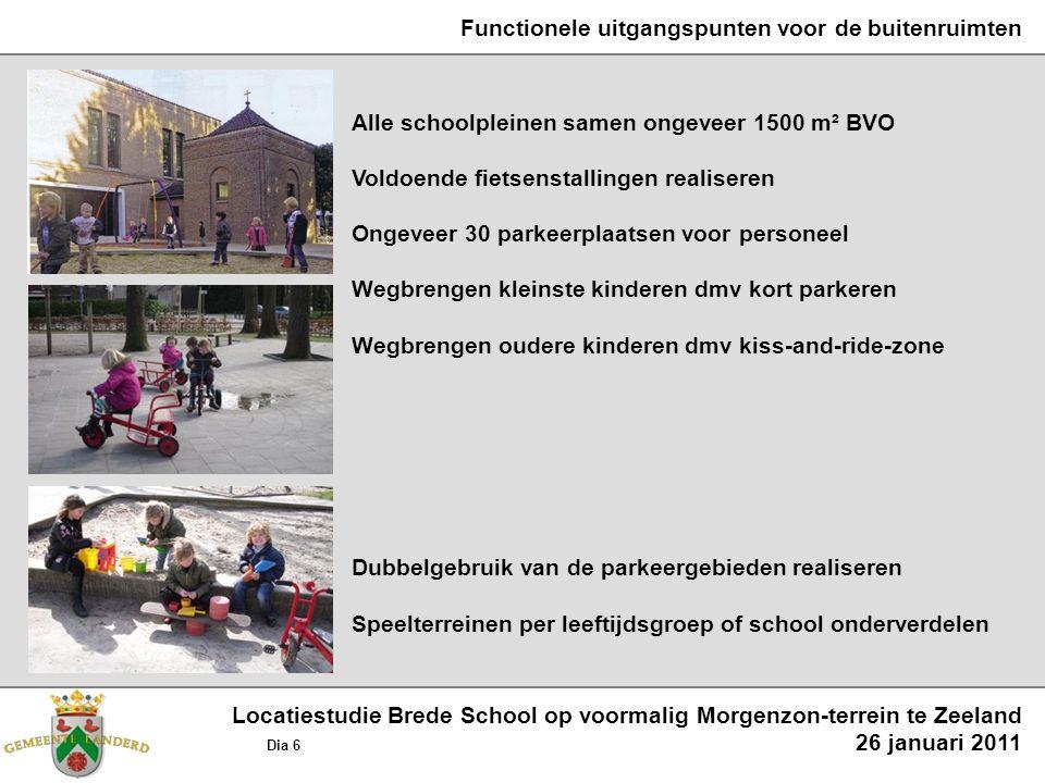 Functionele uitgangspunten voor de buitenruimten Alle schoolpleinen samen ongeveer 1500 m² BVO Voldoende fietsenstallingen realiseren Ongeveer 30 park