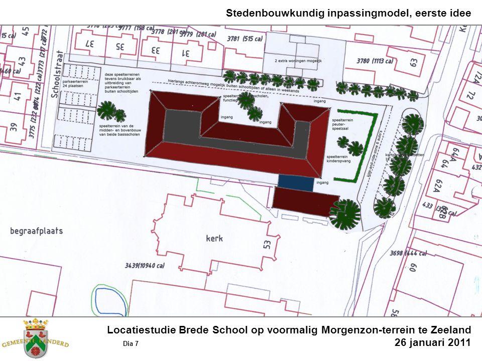 Stedenbouwkundig inpassingmodel, eerste idee Locatiestudie Brede School op voormalig Morgenzon-terrein te Zeeland Dia 7 26 januari 2011