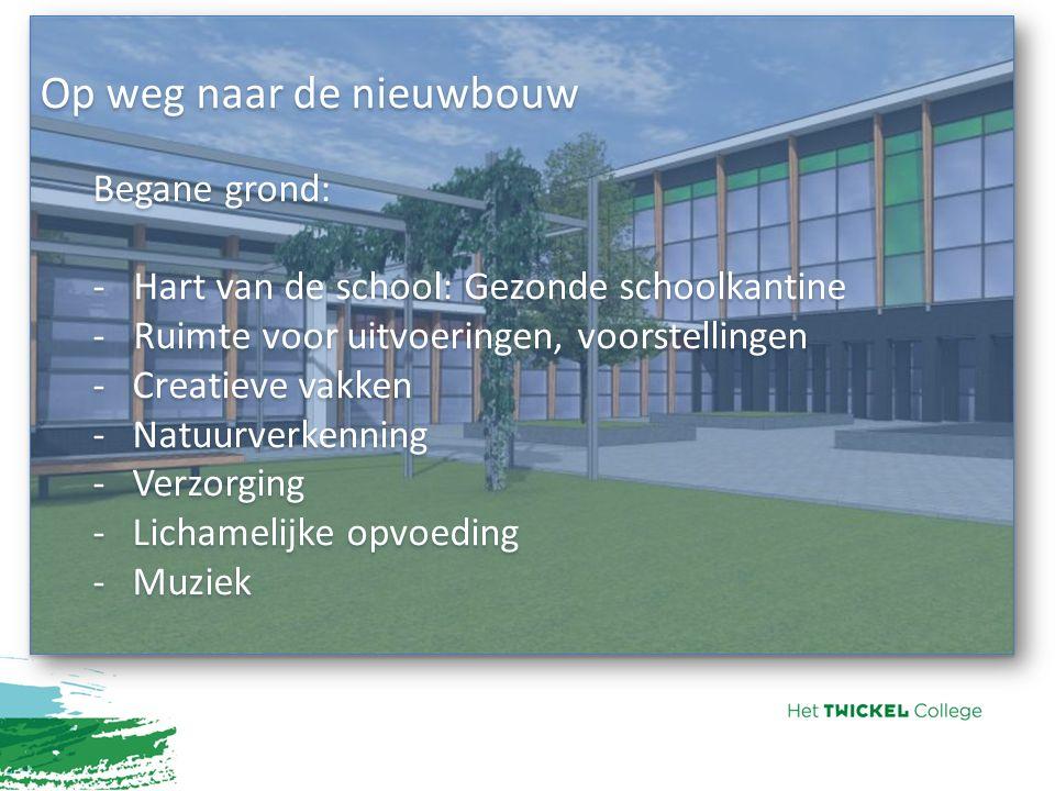 Op weg naar de nieuwbouw Begane grond: - Hart van de school: Gezonde schoolkantine - Ruimte voor uitvoeringen, voorstellingen -Creatieve vakken -Natuu