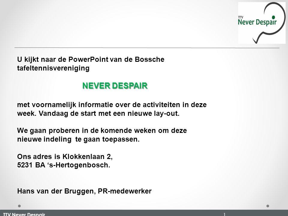 TTV Never Despair 1 U kijkt naar de PowerPoint van de Bossche tafeltennisvereniging NEVER DESPAIR met voornamelijk informatie over de activiteiten in deze week.