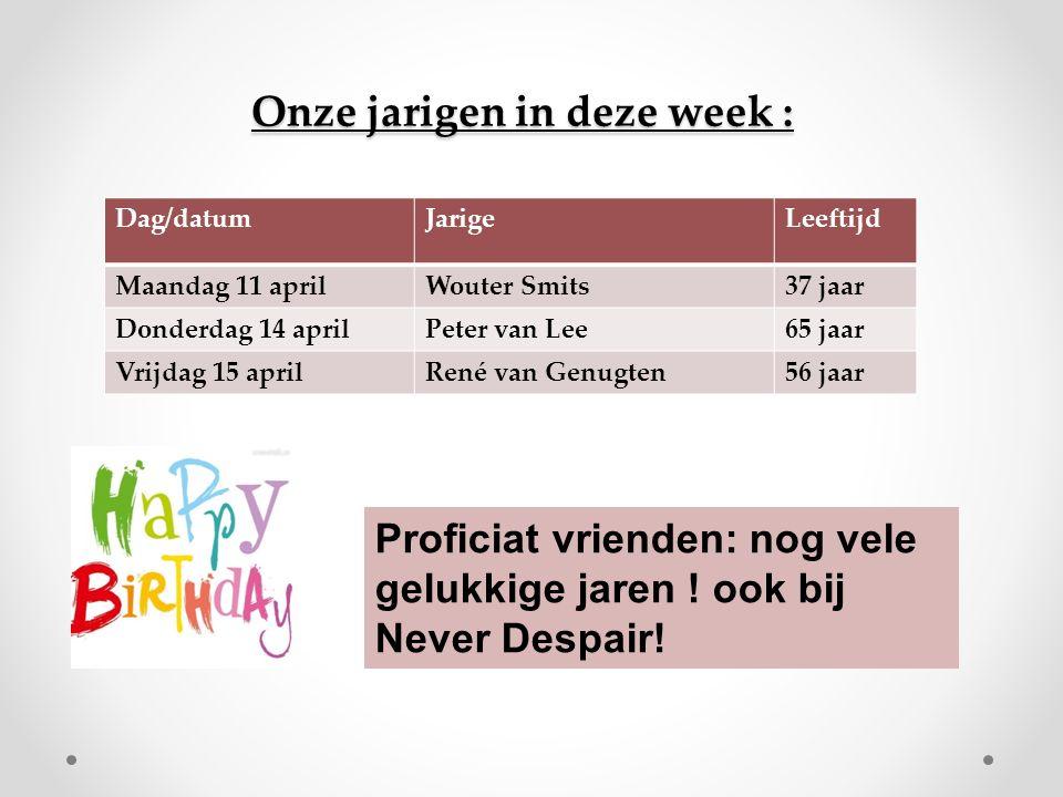 Onze jarigen in deze week : Dag/datumJarigeLeeftijd Maandag 11 aprilWouter Smits37 jaar Donderdag 14 aprilPeter van Lee65 jaar Vrijdag 15 aprilRené van Genugten56 jaar Proficiat vrienden: nog vele gelukkige jaren .